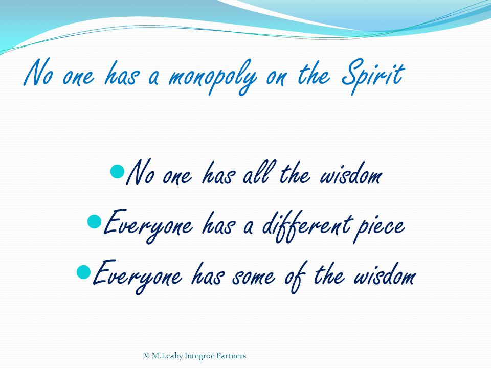 No one has a monopoly on the Spirit No one has all the wisdom Everyone has a different piece Everyone has some of the wisdom © M.Leahy Integroe Partners