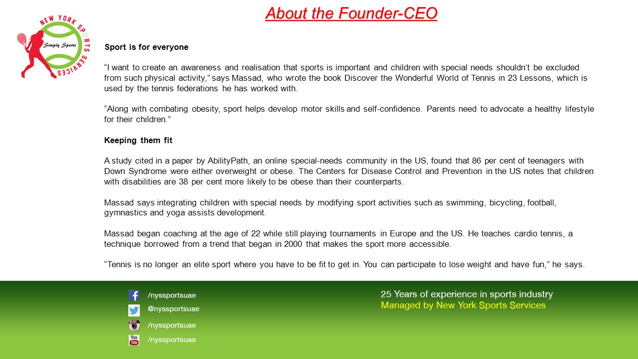 """About the Founder-CEO Sport is for everyone """"I want to create an awareness and realisation that sports is important and children with special needs sh"""