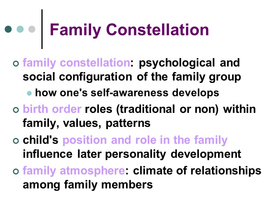 Family Constellation family constellation: psychological and social configuration of the family group how one s self-awareness develops birth order roles (traditional or non) within family, values, patterns child s position and role in the family influence later personality development family atmosphere: climate of relationships among family members