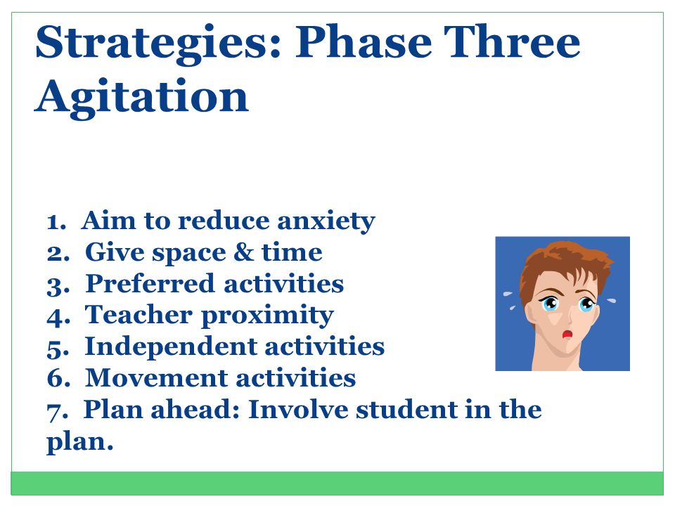 Strategies: Phase Three Agitation 1.Aim to reduce anxiety 2.