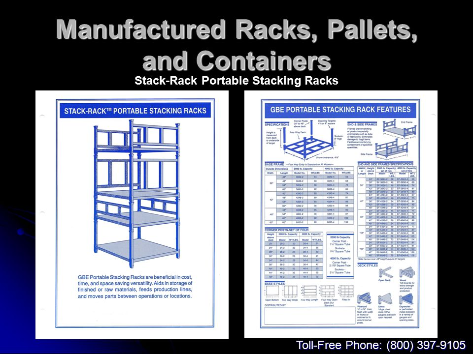 Manufactured Racks, Pallets, and Containers Stack-Rack Portable Stacking Racks Toll-Free Phone: (800) 397-9105