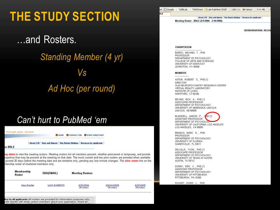 THE STUDY SECTION …and Rosters. Standing Member (4 yr) Vs Ad Hoc (per round) Can't hurt to PubMed 'em