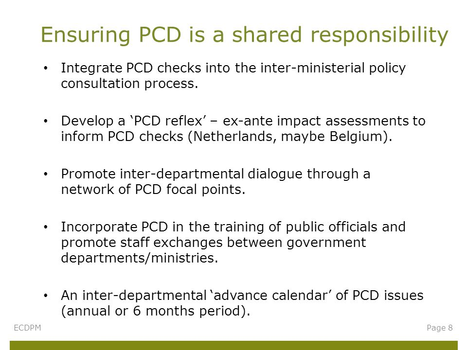 Integrate PCD checks into the inter-ministerial policy consultation process.