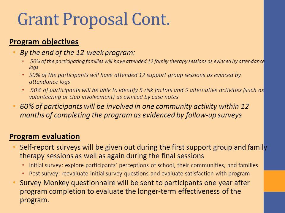 Grant Proposal Cont.