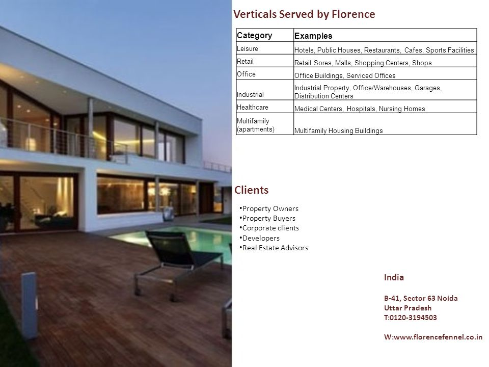 Verticals Served by Florence Category Examples Leisure Hotels, Public Houses, Restaurants, Cafes, Sports Facilities Retail Retail Sores, Malls, Shoppi