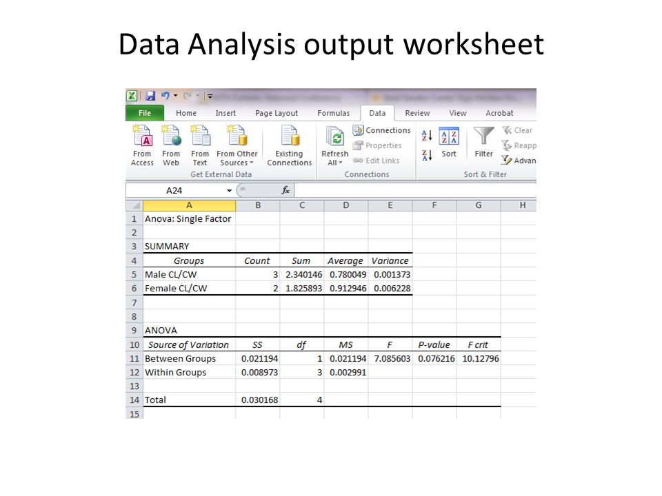 Data Analysis output worksheet