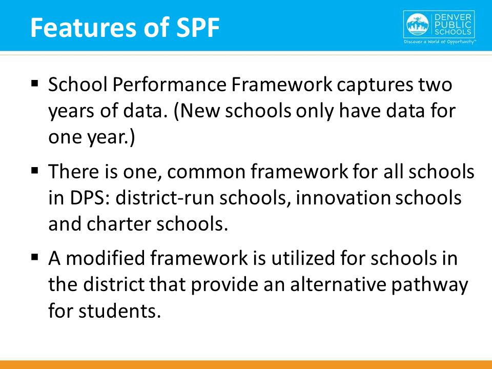 Features of SPF  School Performance Framework captures two years of data.