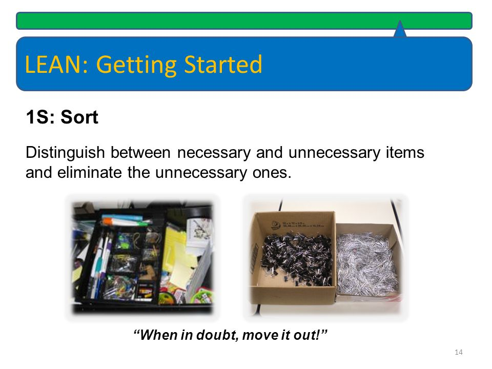 LEAN: Getting Started Key documents, items or information can't be located quickly or at all Large quantities of the same supplies are stored in multiple locations Areas, drawers and cabinets are dumping grounds for miscellaneous items Supply areas contain items that have not been used in years, like toner cartages for printers that have been surplused, cords and cables to unknown electronics 15