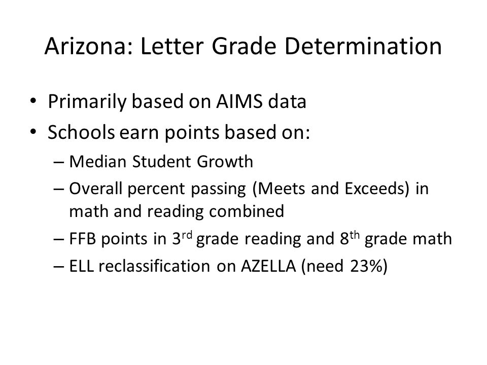 Arizona: Letter Grade Determination Primarily based on AIMS data Schools earn points based on: – Median Student Growth – Overall percent passing (Meets and Exceeds) in math and reading combined – FFB points in 3 rd grade reading and 8 th grade math – ELL reclassification on AZELLA (need 23%)