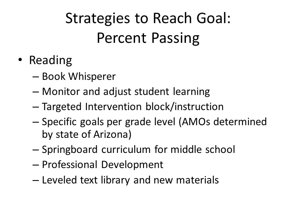 Strategies to Reach Goal: Percent Passing Reading – Book Whisperer – Monitor and adjust student learning – Targeted Intervention block/instruction – Specific goals per grade level (AMOs determined by state of Arizona) – Springboard curriculum for middle school – Professional Development – Leveled text library and new materials