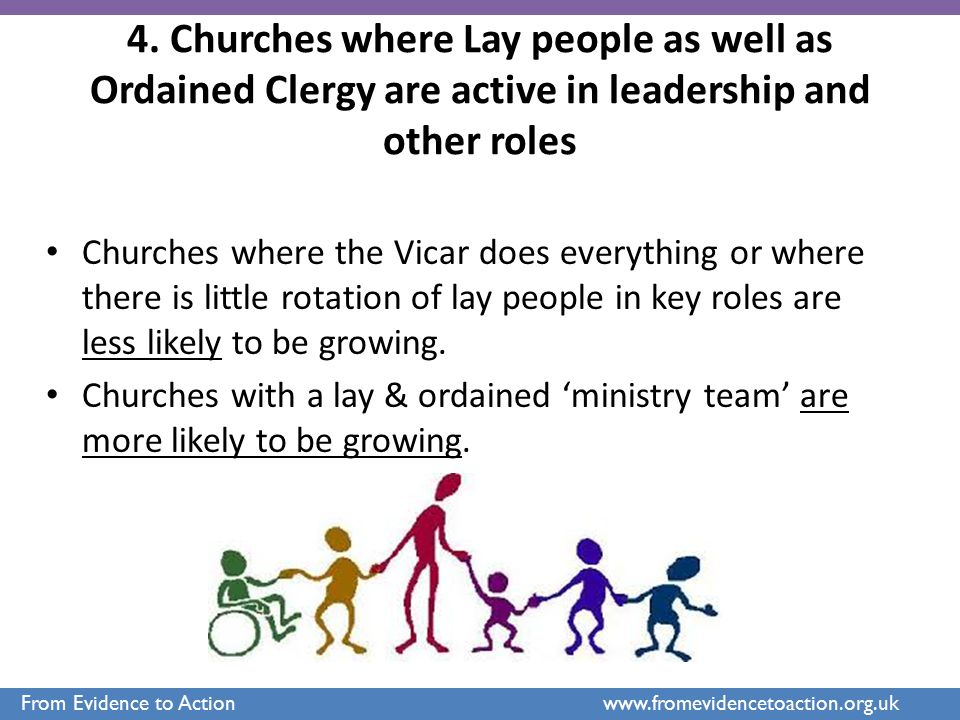 4. Churches where Lay people as well as Ordained Clergy are active in leadership and other roles Churches where the Vicar does everything or where the