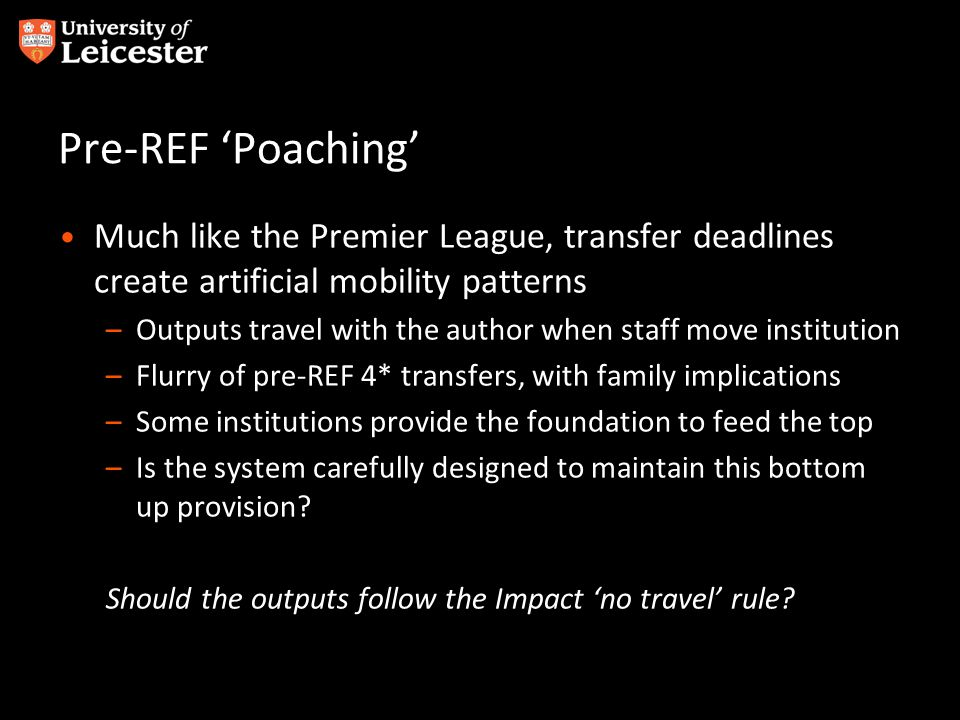Pre-REF 'Poaching' Much like the Premier League, transfer deadlines create artificial mobility patterns –Outputs travel with the author when staff mov