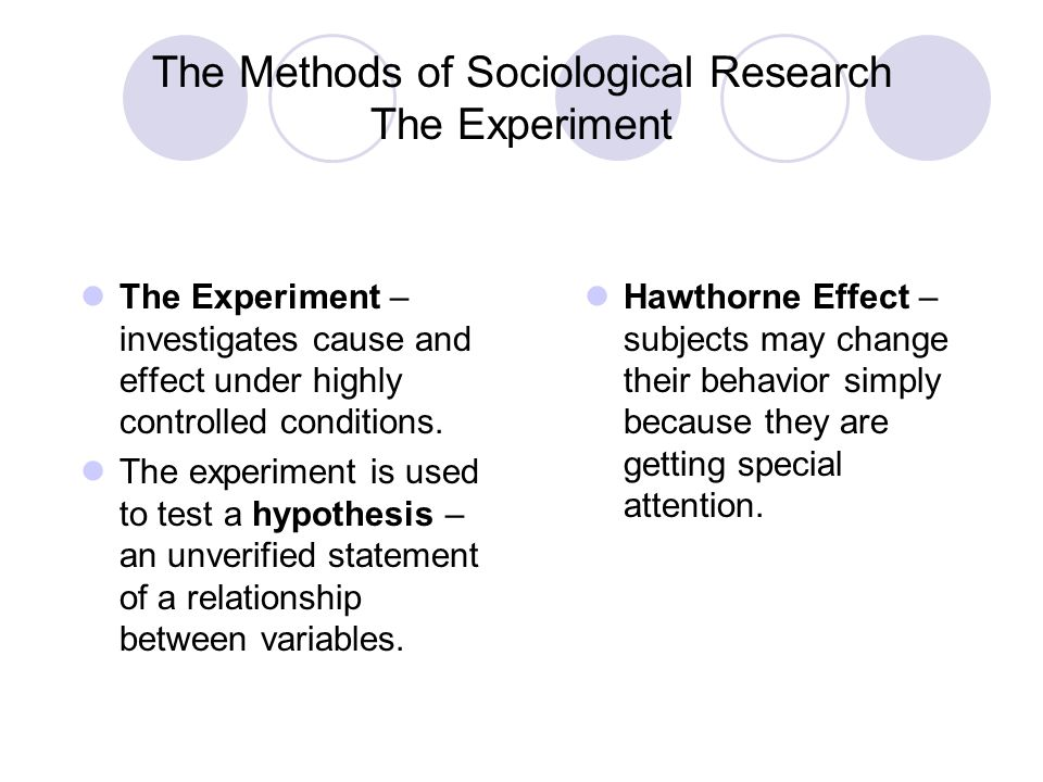 The Methods of Sociological Research The Experiment The Experiment – investigates cause and effect under highly controlled conditions. The experiment