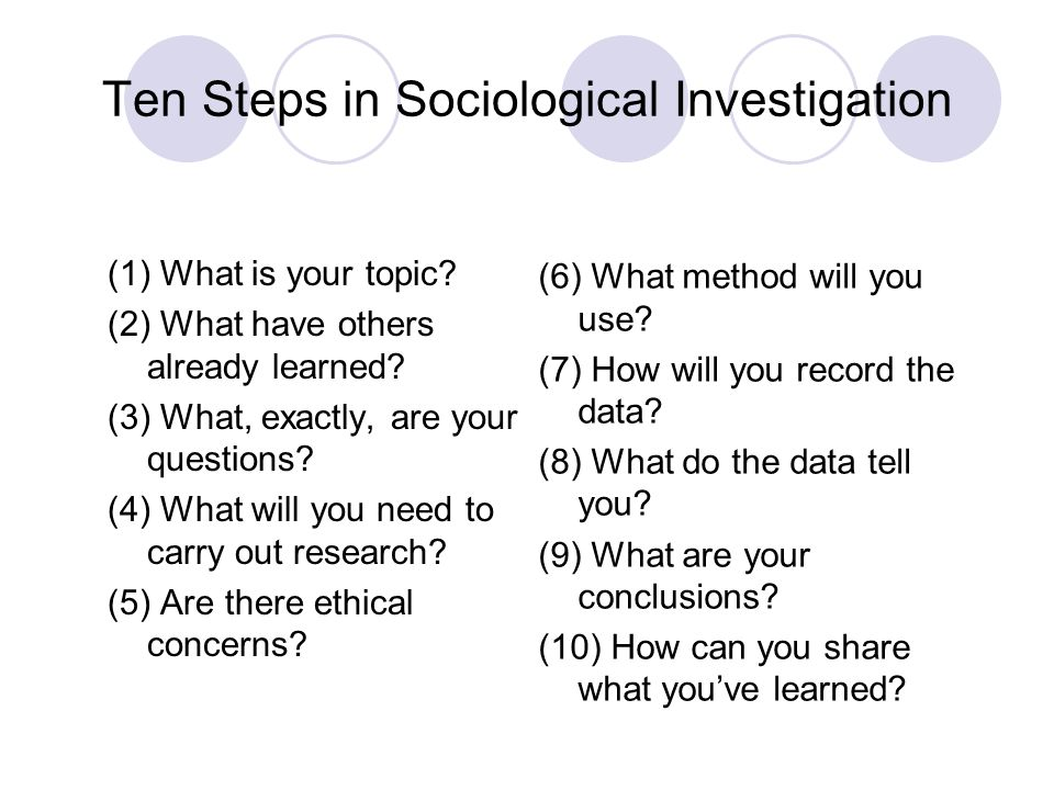 Ten Steps in Sociological Investigation (1) What is your topic? (2) What have others already learned? (3) What, exactly, are your questions? (4) What