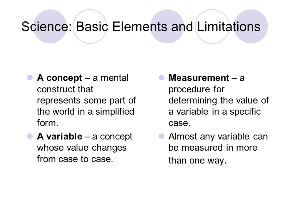 Science: Basic Elements and Limitations A concept – a mental construct that represents some part of the world in a simplified form. A variable – a con