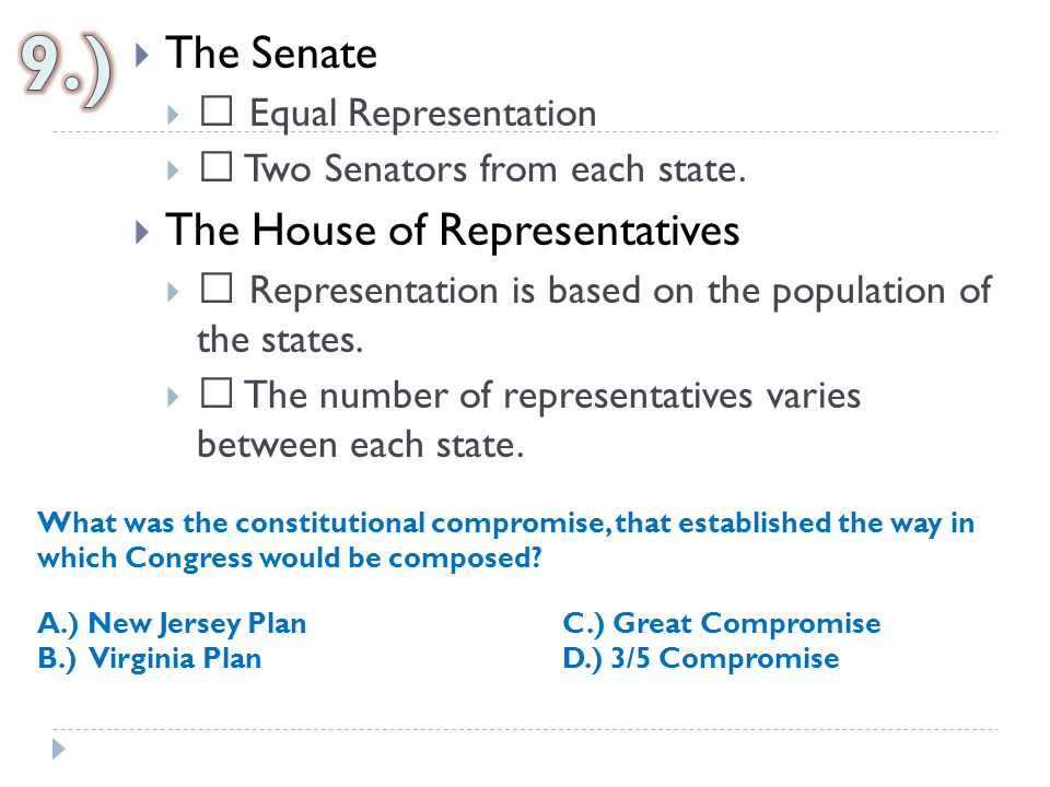  The Senate   Equal Representation   Two Senators from each state.  The House of Representatives   Representation is based on the population o
