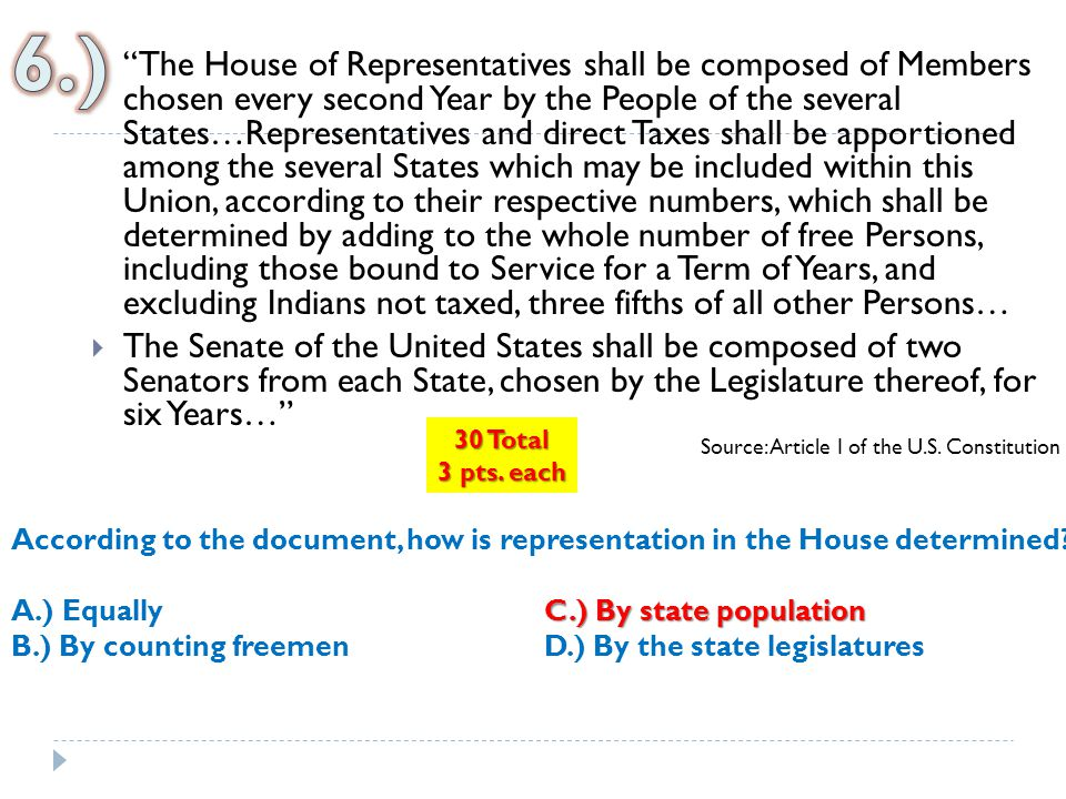 """ """"The House of Representatives shall be composed of Members chosen every second Year by the People of the several States…Representatives and direct T"""