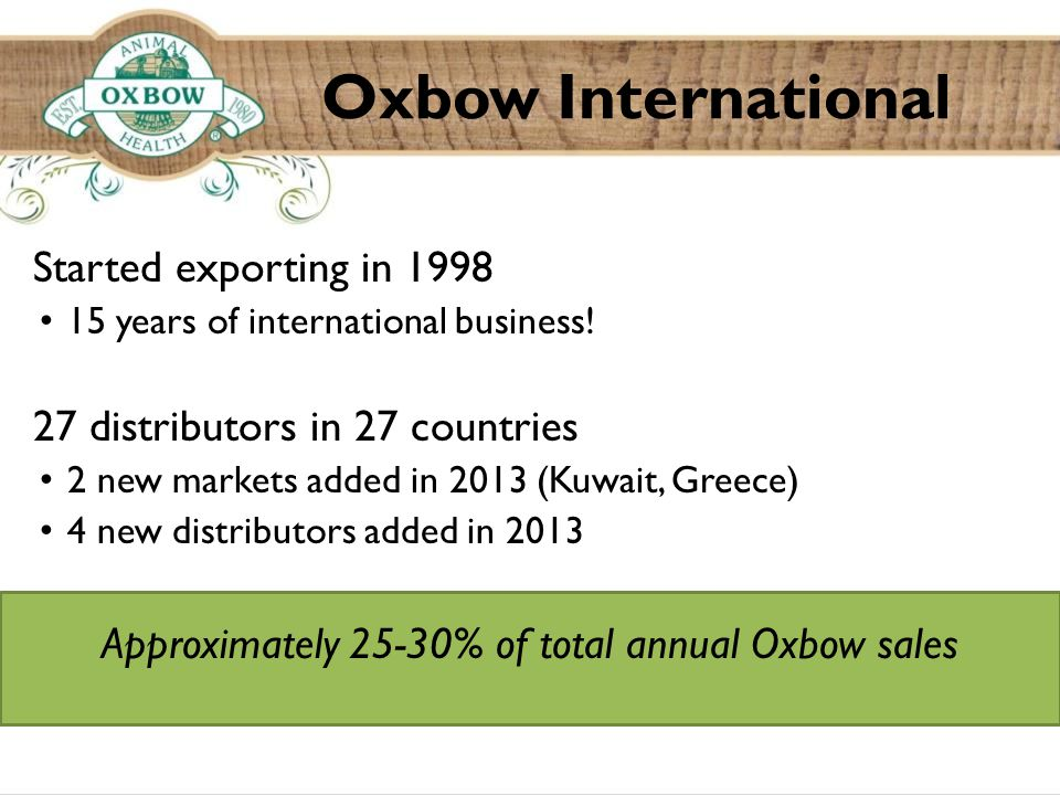 Oxbow International Started exporting in 1998 15 years of international business.