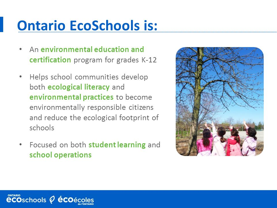 Ontario EcoSchools is: An environmental education and certification program for grades K-12 Helps school communities develop both ecological literacy and environmental practices to become environmentally responsible citizens and reduce the ecological footprint of schools Focused on both student learning and school operations