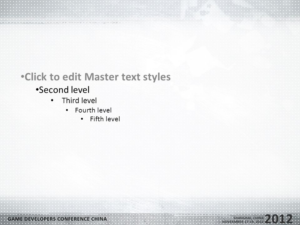 Click to edit Master text styles Second level Third level Fourth level Fifth level