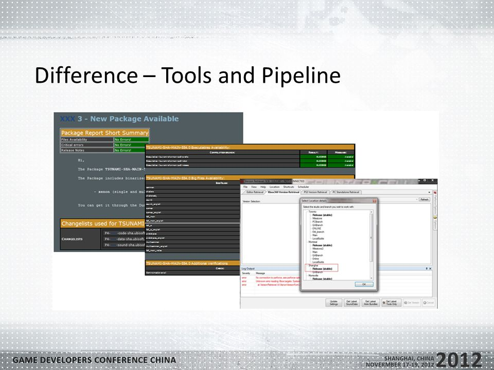 Difference – Tools and Pipeline