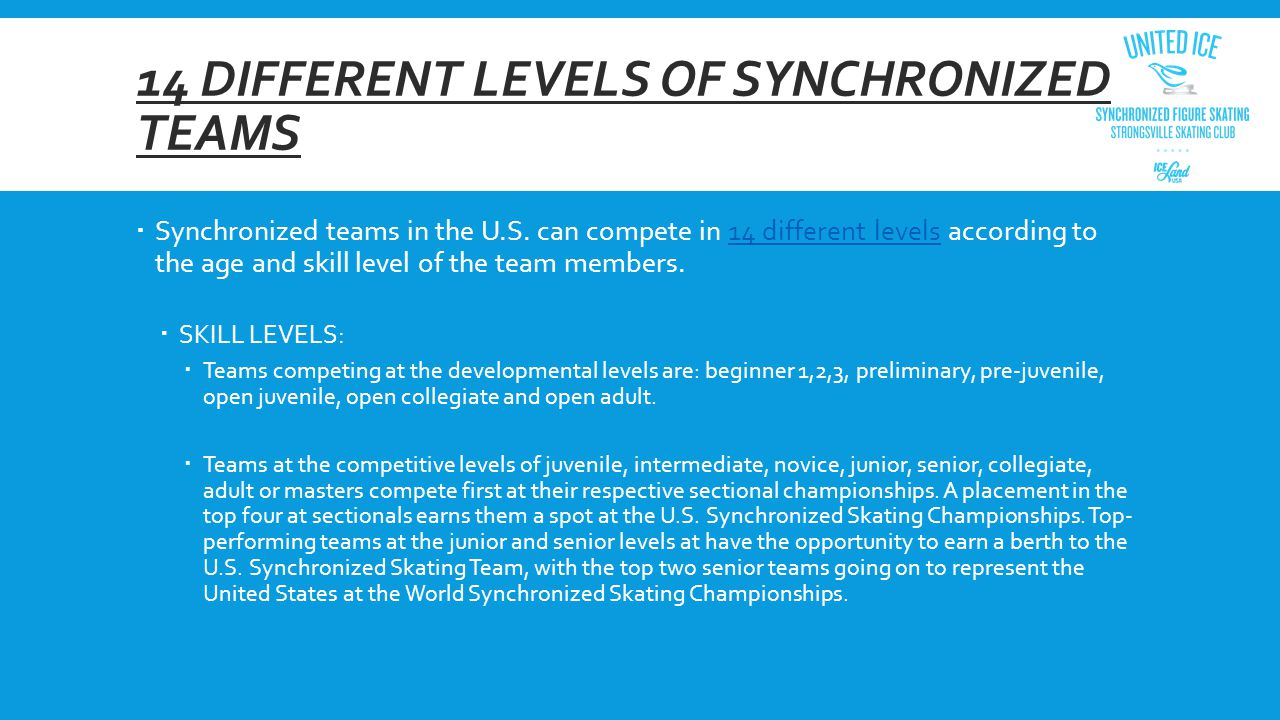 14 DIFFERENT LEVELS OF SYNCHRONIZED TEAMS  Synchronized teams in the U.S.