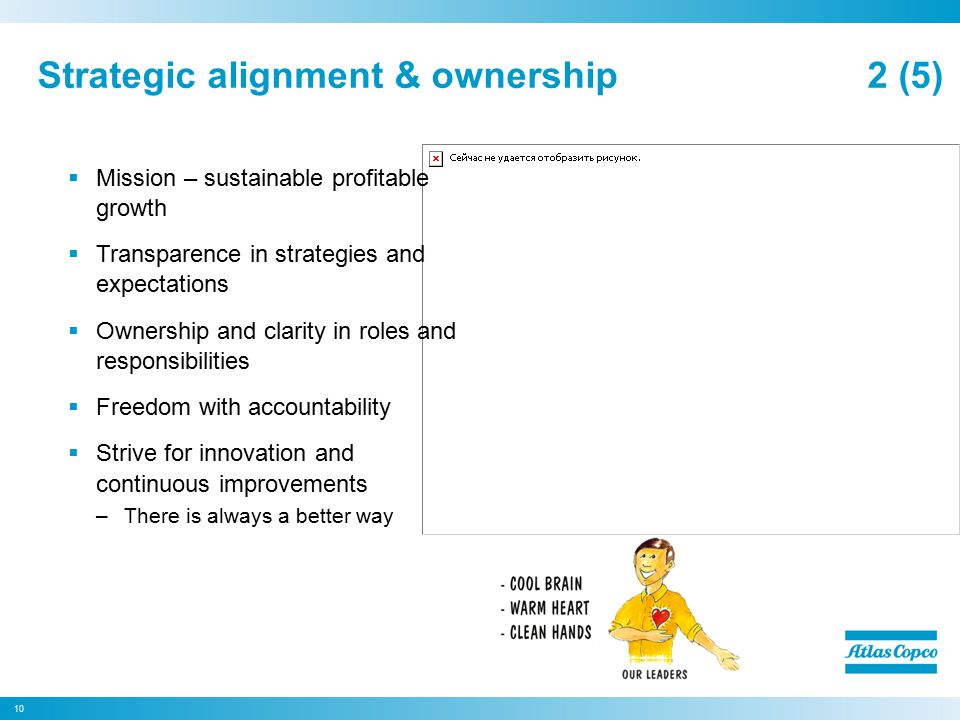Strategic alignment & ownership 2 (5)  Mission – sustainable profitable growth  Transparence in strategies and expectations  Ownership and clarity in roles and responsibilities  Freedom with accountability  Strive for innovation and continuous improvements –There is always a better way 10