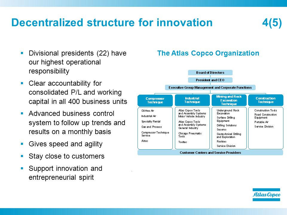 Decentralized structure for innovation 4(5)  Divisional presidents (22) have our highest operational responsibility  Clear accountability for consolidated P/L and working capital in all 400 business units  Advanced business control system to follow up trends and results on a monthly basis  Gives speed and agility  Stay close to customers  Support innovation and entrepreneurial spirit The Atlas Copco Organization