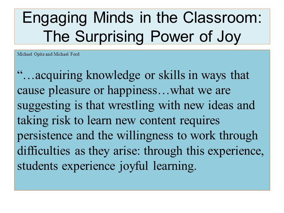 How do you define Joyful Learning.