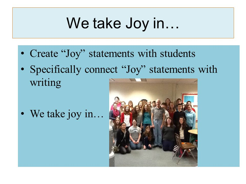 Joyful Learning Framework Engaging Minds in the Classroom: The Surprising Power of Joy Michael F.