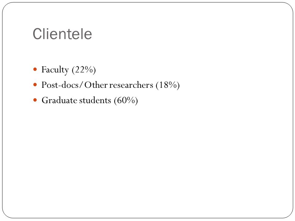 Clientele Faculty (22%) Post-docs/Other researchers (18%) Graduate students (60%)