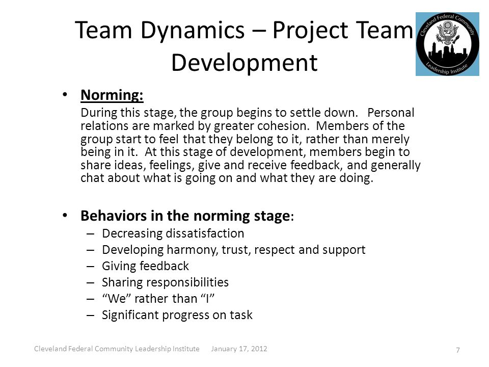 Team Dynamics – Project Team Development Norming: During this stage, the group begins to settle down.