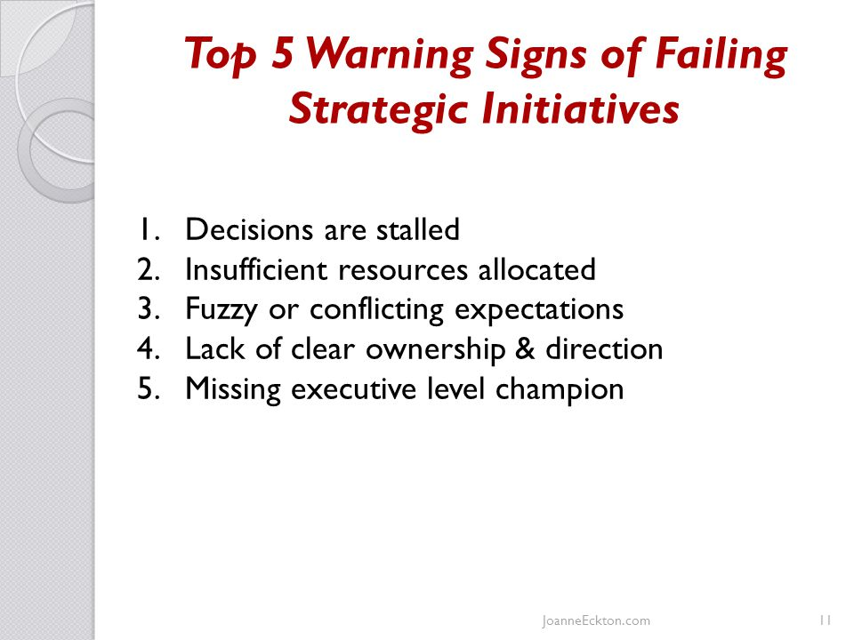 Top 5 Warning Signs of Failing Strategic Initiatives JoanneEckton.com11 1.Decisions are stalled 2.Insufficient resources allocated 3.Fuzzy or conflicting expectations 4.Lack of clear ownership & direction 5.Missing executive level champion