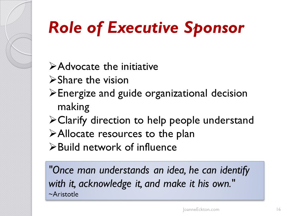 Role of Executive Sponsor JoanneEckton.com16  Advocate the initiative  Share the vision  Energize and guide organizational decision making  Clarify direction to help people understand  Allocate resources to the plan  Build network of influence Once man understands an idea, he can identify with it, acknowledge it, and make it his own. ~Aristotle Once man understands an idea, he can identify with it, acknowledge it, and make it his own. ~Aristotle