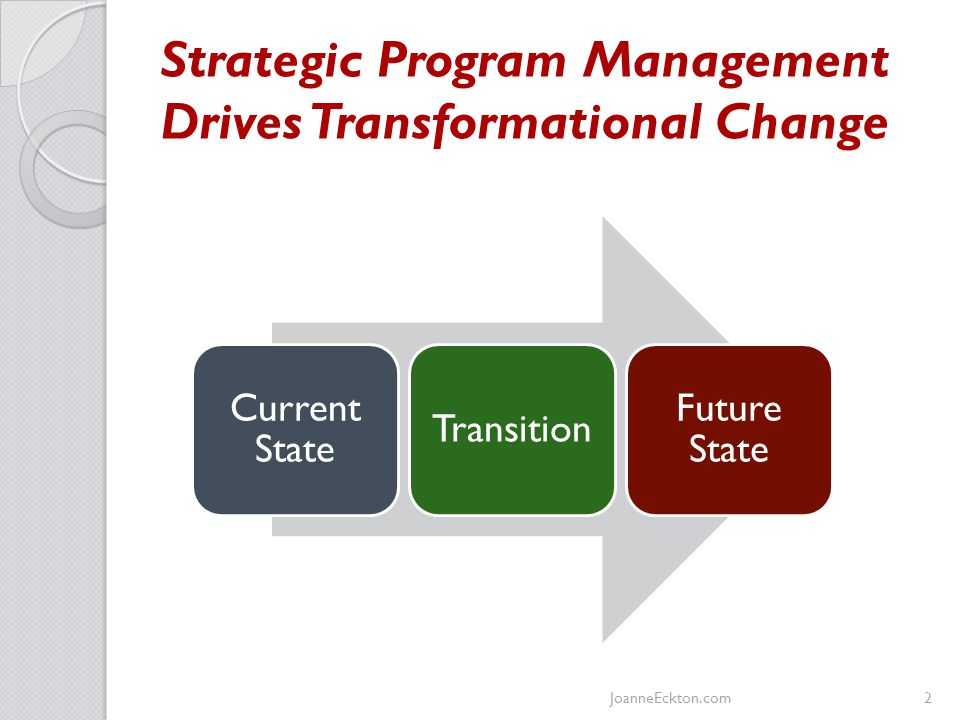 Strategic Program Management Drives Transformational Change JoanneEckton.com2