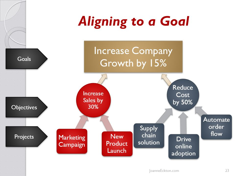 Aligning to a Goal Marketing Campaign New Product Launch Supply chain solution Drive online adoption Automate order flow Increase Company Growth by 15% Goals Objectives Projects Increase Sales by 30% Reduce Cost by 50% JoanneEckton.com23