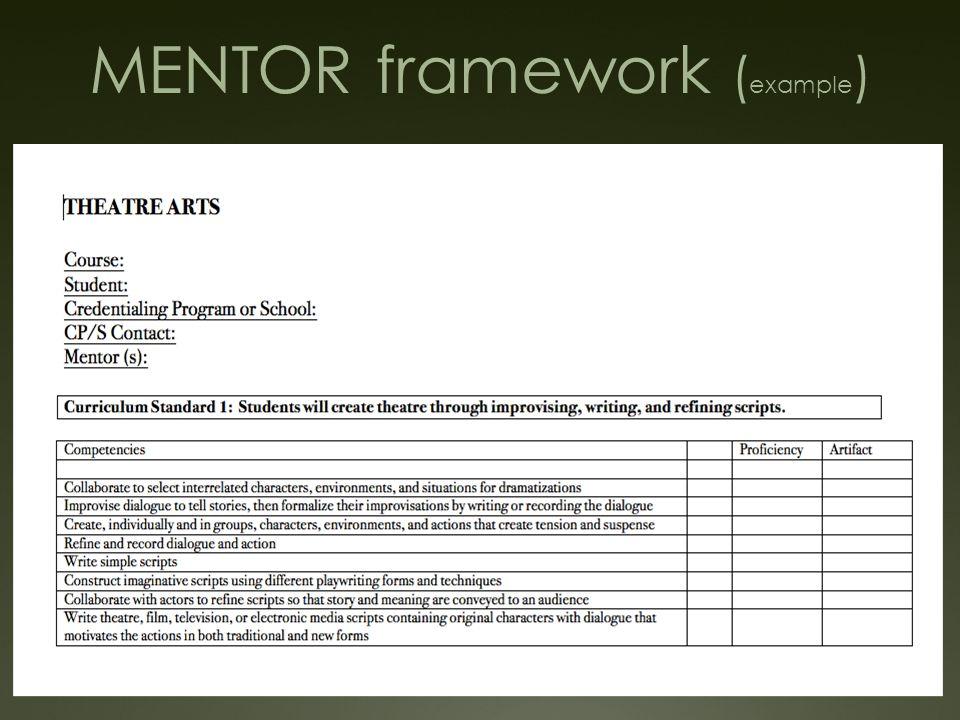 MENTOR framework ( example )