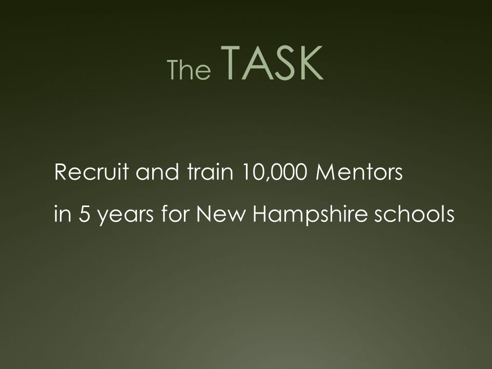 The TASK Recruit and train 10,000 Mentors in 5 years for New Hampshire schools