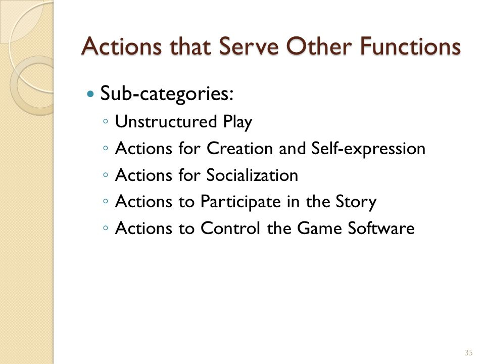 Actions that Serve Other Functions Sub-categories: ◦ Unstructured Play ◦ Actions for Creation and Self-expression ◦ Actions for Socialization ◦ Actions to Participate in the Story ◦ Actions to Control the Game Software 35