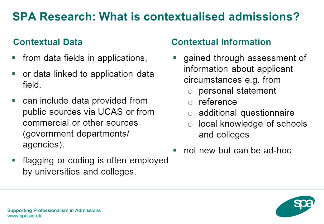 SPA Research: What is contextualised admissions.