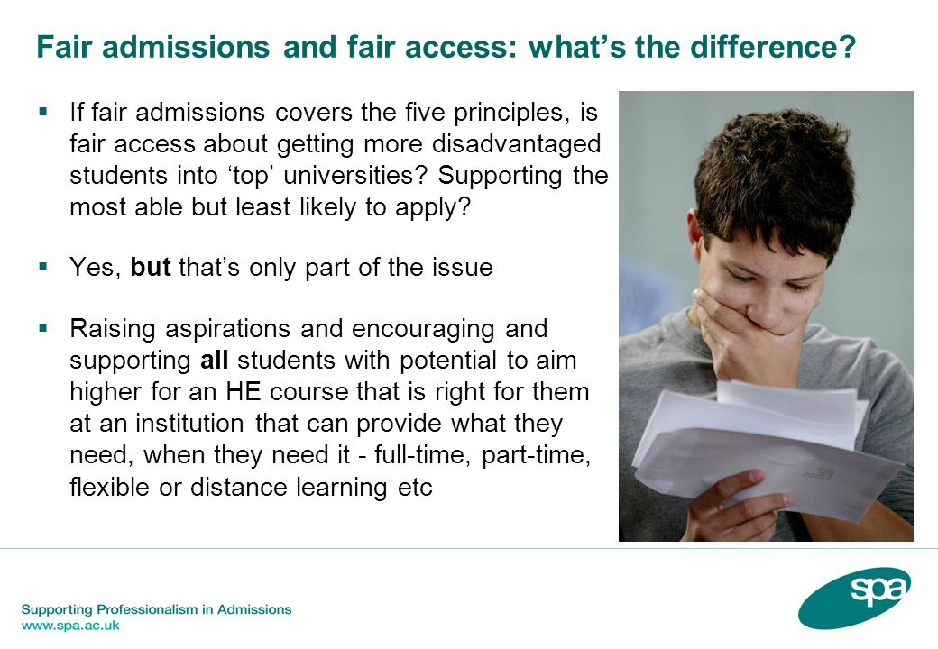 Fair admissions and fair access: what's the difference.