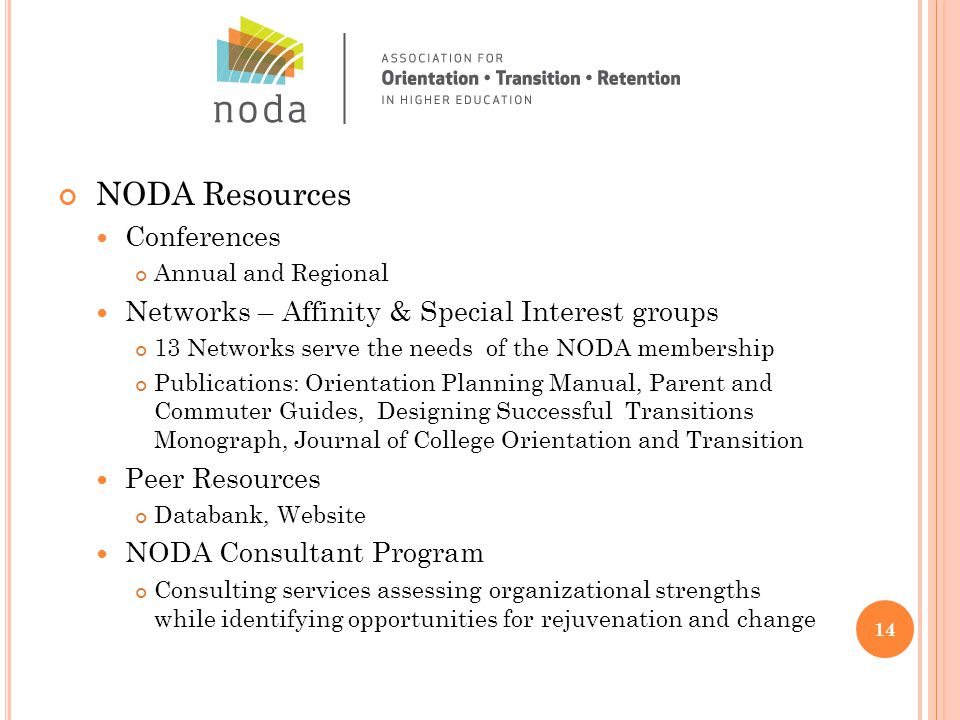 NODA Resources Conferences Annual and Regional Networks – Affinity & Special Interest groups 13 Networks serve the needs of the NODA membership Publications: Orientation Planning Manual, Parent and Commuter Guides, Designing Successful Transitions Monograph, Journal of College Orientation and Transition Peer Resources Databank, Website NODA Consultant Program Consulting services assessing organizational strengths while identifying opportunities for rejuvenation and change 14