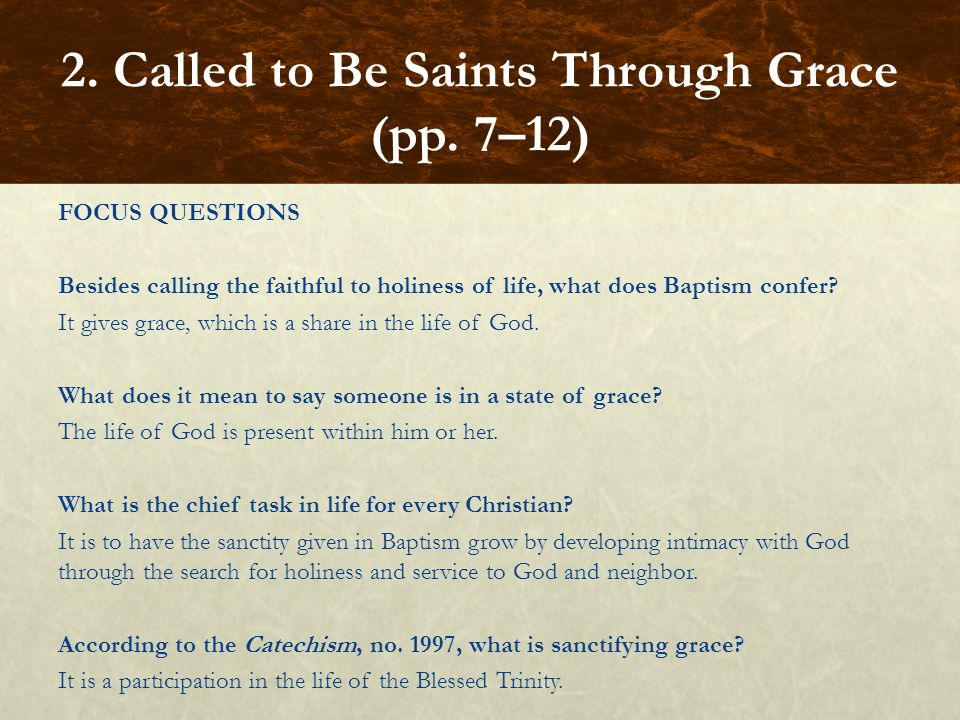 FOCUS QUESTIONS Besides calling the faithful to holiness of life, what does Baptism confer? It gives grace, which is a share in the life of God. What