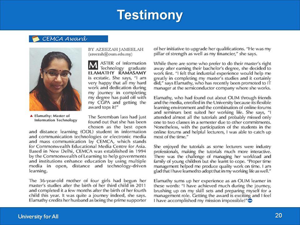 University for All Testimony 20