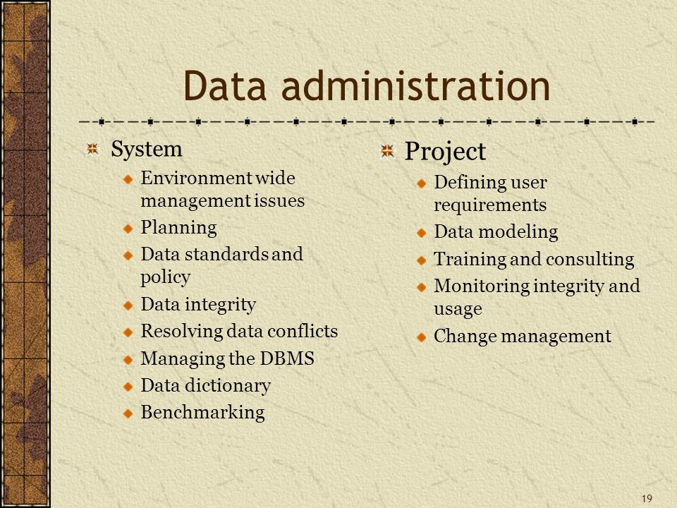19 Data administration System Environment wide management issues Planning Data standards and policy Data integrity Resolving data conflicts Managing the DBMS Data dictionary Benchmarking Project Defining user requirements Data modeling Training and consulting Monitoring integrity and usage Change management