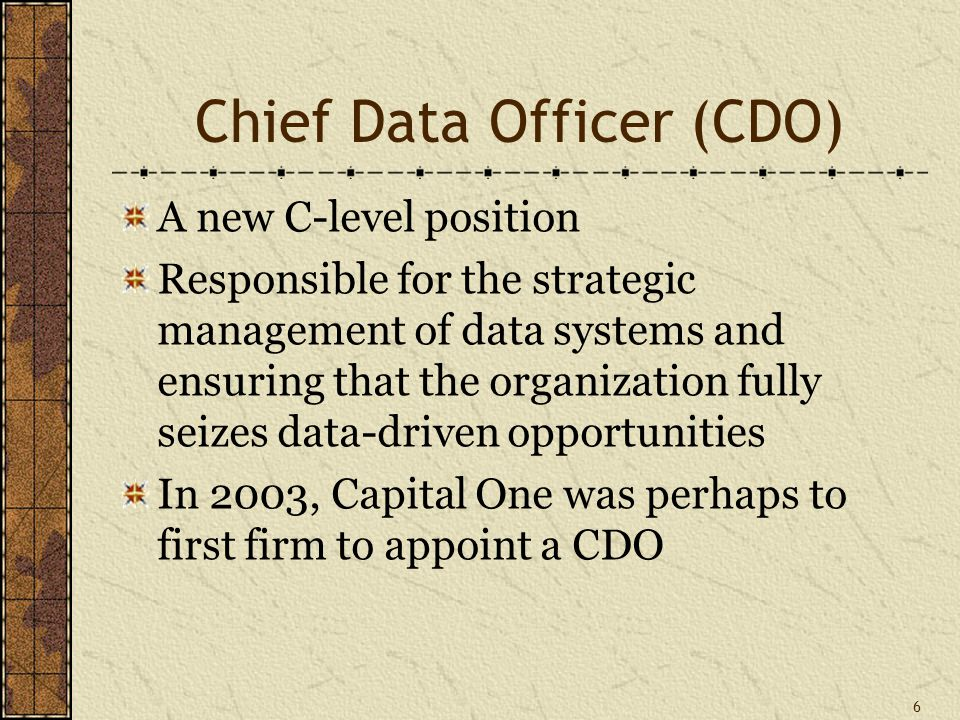 Chief Data Officer (CDO) A new C-level position Responsible for the strategic management of data systems and ensuring that the organization fully seizes data-driven opportunities In 2003, Capital One was perhaps to first firm to appoint a CDO 6