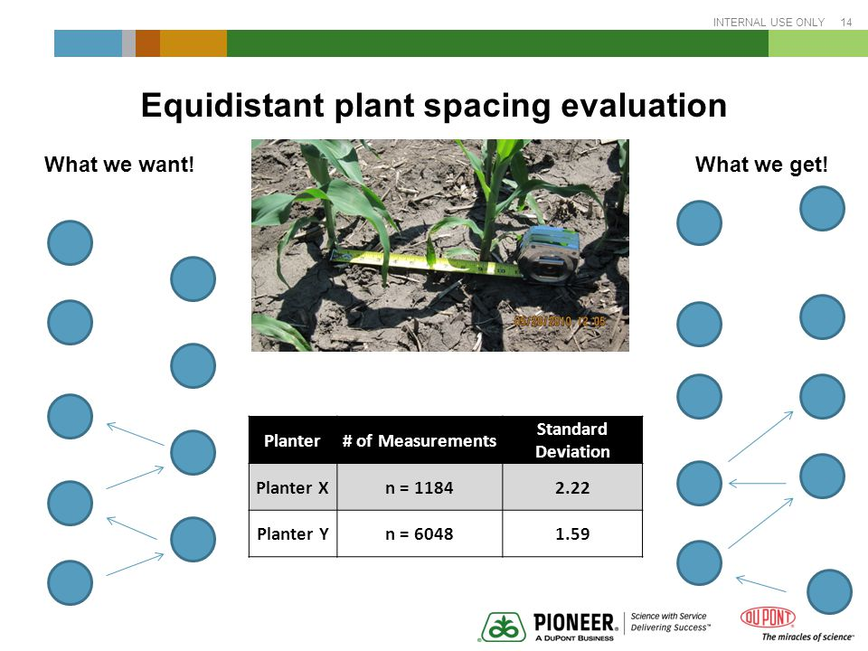 INTERNAL USE ONLY 14 Equidistant plant spacing evaluation What we want.
