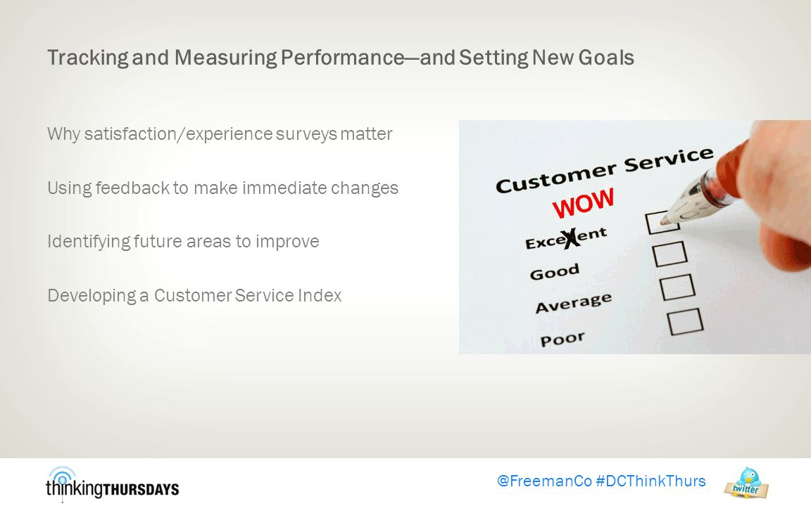 @FreemanCo #DCThinkThurs Tracking and Measuring Performance—and Setting New Goals Why satisfaction/experience surveys matter Using feedback to make immediate changes Identifying future areas to improve Developing a Customer Service Index