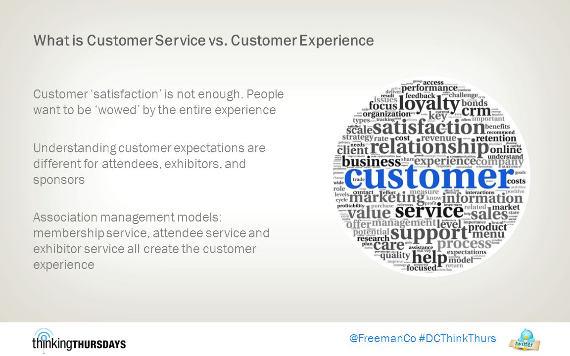 @FreemanCo #DCThinkThurs What is Customer Service vs.
