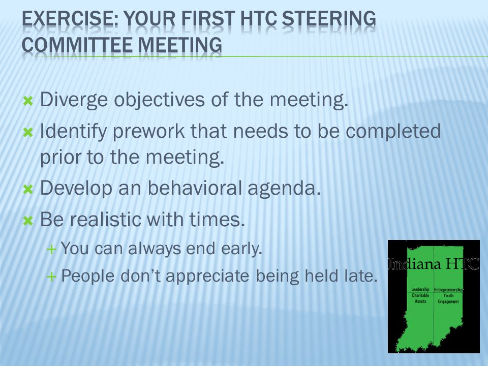  Diverge objectives of the meeting.